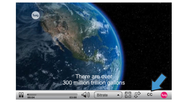 Screenshot of a Twig Film showing Closed Captions icon