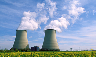 Photograph of exhaust chimneys at a nuclear power station